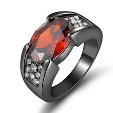 Size 9 Wedding Solitaire Garnet Fashion 10K Black Gold Filled Mens Rings Gift