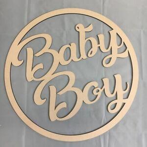 30cm Baby Boy Hoop Ring MDF Wall Sign Baby Shower Nursery Decoration