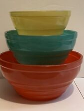 Jeannette Glass Mixing Nesting Bowls Set Orange-Red Yellow Green Vintage Retro