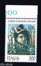 ITALIA IL FRANCOBOLLO CARLO GOLDINI COMMEDIOGRAFO 500 LIRE 1993 nuovo**