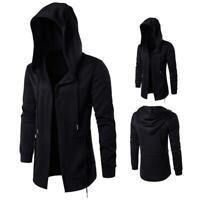 Men Hooded Jacket Long Cardigan Black Ninja Goth Gothic Punk Hoodie Coats @