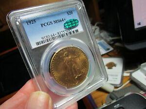 GOLD  SUPER LOOKING SAINT GAUDENS DOUBLE EAGLE  PCGS & CAC  MS-64+  1925 1 OZ