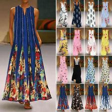 Women's Sleeveless Summer Kaftan Plus Long Maxi Dress Beach Party Shirt Sundress