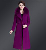 Womens Warm Wool Trench Long Coat Parka Faux Fur Collar Winter Jacket Overcoat