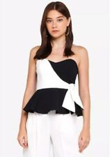 Miss Selfridge - Colour Block Tie Bandeau Peplum Top - Size 12 - BNWT