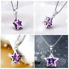 Silver Plated Zircon Necklace Charm Crystal Hot Girls Star Pendant Jewelry