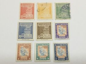 old stamps  BOLIVIA   x  9 air post