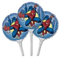 3 x  Self Inflating Spiderman Balloons 9 Inch With Sticks / party bag fillers