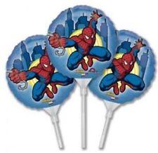 3 X Self Gonfiare Palloncini Spiderman 9 pollici con i bastoncini/Party Bag Filler