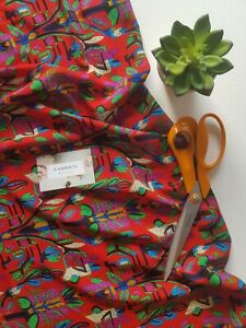 Red Abstract Floral Print Viscose Dress Fabric Top Skirt Sewing Crafts Material