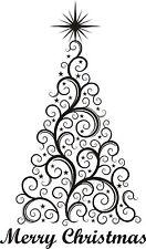 CHRISTMAS Árbol Merry Adhesivo Pared Decoración para Ventana de vinilo