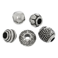 ❤ 50 x MIXED Silver Tone Acrylic PATTERNED European Spacer Bead Charm Bracelet ❤