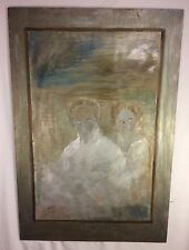 Vintage Painting Mother Child Spooky Ghost Looking Unique Kitsch Death