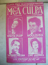 Partition Mea Culpa Edith Piaf Mouloudji Jacques Hélian Line Andres