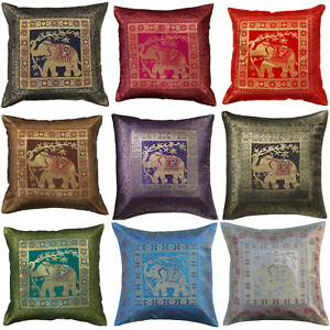 "Indian Bohemian Mandala Silk Brocade Ethnic Cushion Covers Elephant 17"" Square"