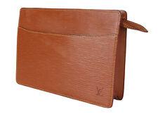 LOUIS VUITTON Pochette Homme Epi Leather Brown Clutch Bag LP3095