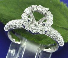18k Solid White Gold 1.25 ct Ladies Semi Mount Natural Diamond Ring VS halo