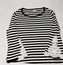 ROZ & ALI  Women's stripe black white sweater/top Size XL