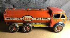 "⭐ Vintage Mettoy   1950s   Tin 10"" Esso 6-Wheel Tanker   Good Condition"