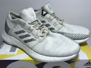 Adidas Mens Size 8.5 PureBoost GO White Black Running Shoes Sneakers B37802
