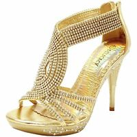 New Women's Shoes Rhinestones Stilettos Back Zipper Party Prom Wedding Gold
