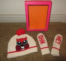 """KATE SPADE Pumice/OWL """"Who Me??"""" Hat and Mitten Set in Box ~ S/M (ages 7-10) NEW"""