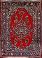 Vintage Floral Mahal Wool Area Rug Hand-Knotted Dining Room Oriental Carpet 8x11