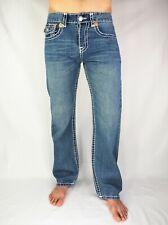 TRUE RELIGION Men's Bootcut BILLY SUPER T Blue Thick Denim White Stitching Jeans