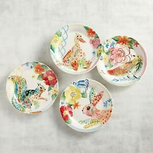 Pier 1 Imports Salad Plate Set Panterly Critters Watercolor Bunny Duck Bird New