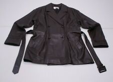 Together Womens L Brown Double Breasted Belted SOFT Leather Jacket