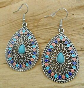 Teardrop Mosaic Indian Boho Beaded Large Cutout Earrings Silver Effect/Turquoise