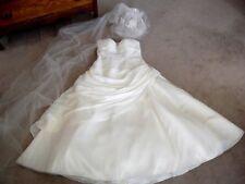 IVORY WEDDING DRESS~RUSHING~BEADED~SIZE 16 ~ VICTORIAN HAT & VEIL