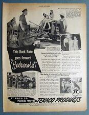 1949 Texaco Products Ad Buck Rake goes forward backwards Lorraine & Emil Johnson