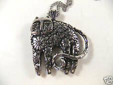 Laurel Burch Antiqued Silver Tone Cat Feline Necklace With Chain New
