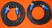 15mtr  Speakon to Speakon Pro Speaker Leads/Cables x 2 Genuine Neutrik