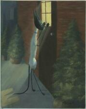 SIAMESE CAT OUTSIDE DOOR NEW YORK CITY TOPIARY PLANTS LISTED ARTIST PAINTING
