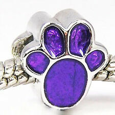 Wholesale 20pcs Purple Dog Paw Silver Enamel European Bracelet Charm Beads D472