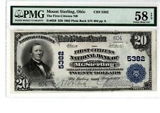1902 $20 National Banknote PB 1st Citizens NB Mt Sterling OH Ch# 5382  PMG58 EPQ