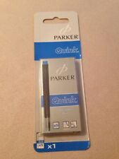 PARKER QUINK WASHABLE BLUE INK CARTRIDGES X 5 - SEALED BLISTER PACK-FRANCE