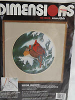 Dimensions Winter Cardinals No Count Cross Stitch Kit 3947 Open- No Needle 14X14