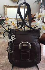 B. Makowsky Brown pebbled leather cross-body Shoulder handbag EUC!