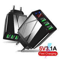 3-Port USB Phone Charger LED Display Wall Fast Charging Adapter EU/US/UK Plug