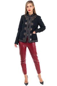 RRP €815 BAZAR DELUXE Linen Blend Badged Jacket Size IT 44 / M Silk Blend Lined