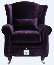 New Ashley Wing Chair Fireside High Back Armchair Modena Aubergine Purple Velvet