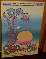"""Vintage Original 1970 Peter Max United Nations 25 Psychedelic Poster 36"""" x 24"""""""