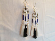 E360 TIBETAN SILVER HEART CHANDELIER WHITE/BLACK TASSELS SILVER PLATED EARRINGS