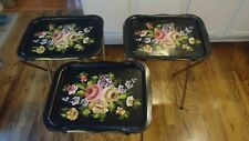 Vintage Metal Circa 50s TV Trays Black With Flowers Three Of Them