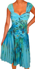 QN2 FUNFASH BLUE FLORAL SLIMMING EMPIRE WAIST COCKTAIL PLUS SIZE DRESS 1X 18 20