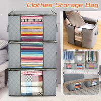 Foldable Large Non-woven Clothes Quilt Blanket Zip Storage Bag Organizer Box