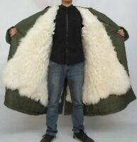 MIlitary Mens Thick Parka Army Green Lamb Fur Lining Outwear Jacket Coat Winter